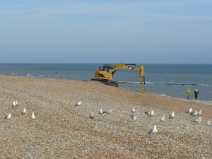 Digger on the beach